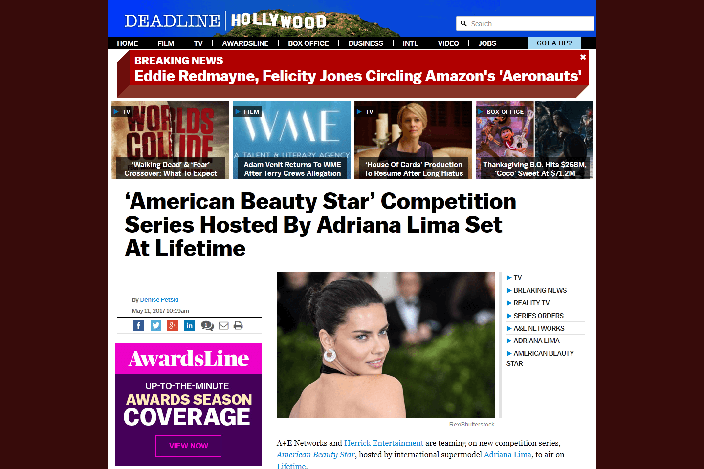 """American Beauty Star"" Competition Series Hosted By Adriana Lima Set At Lifetime"