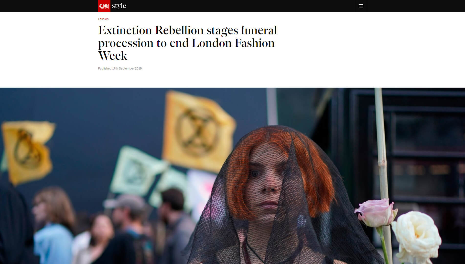 Extinction Rebellion stages funeral procession to end London Fashion Week