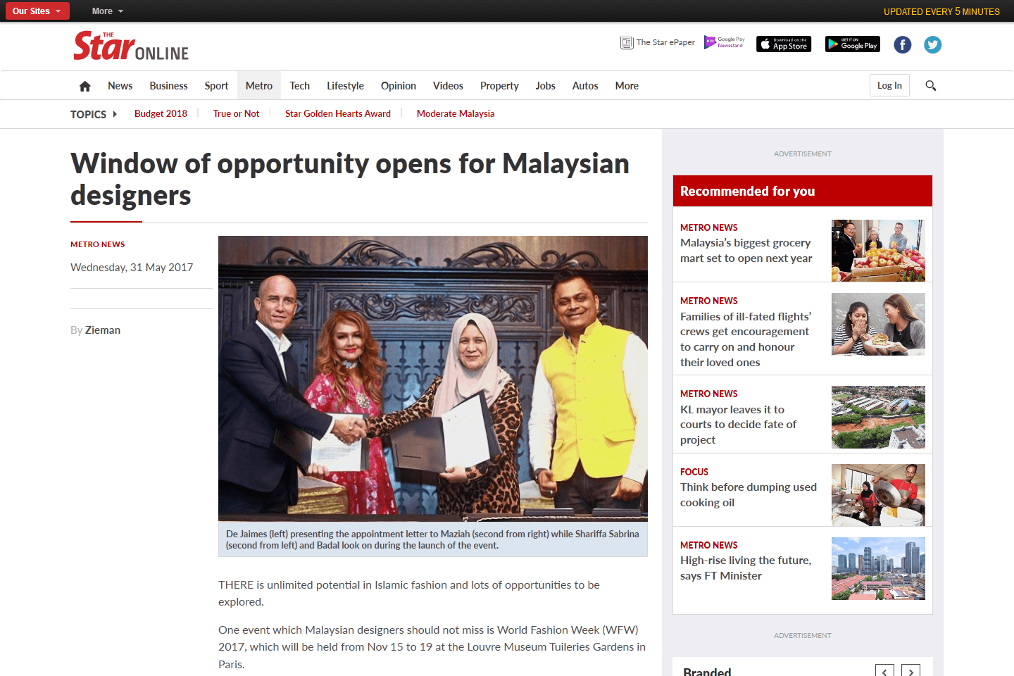 Window of opportunity opens for Malaysian designers